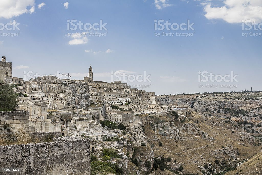 Matera skyline and tuff landscape, Basilicata Italy royalty-free stock photo