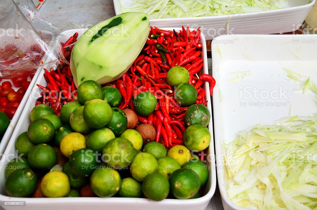 Material and seasoning for cooking som tam stock photo