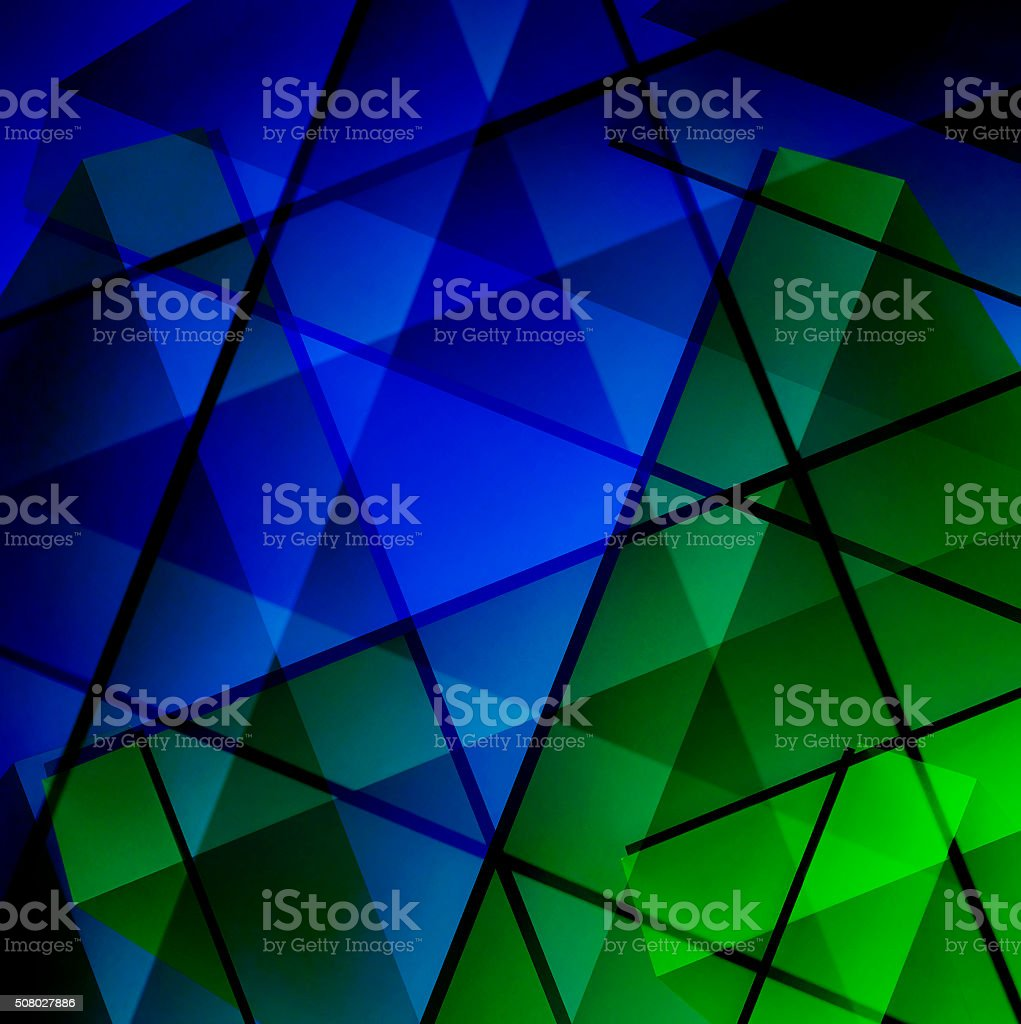 Material design in blue and green resembling stained-glass window stock photo