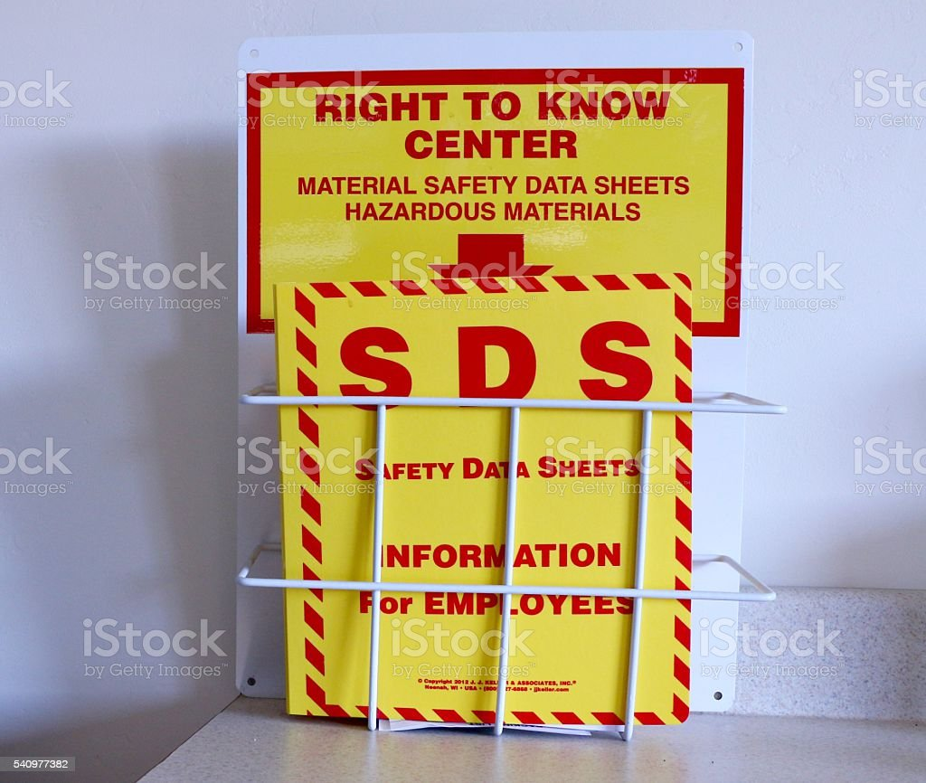 Material Safety Data Sheet stock photo