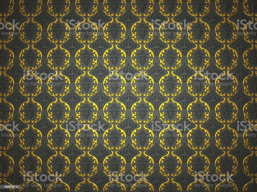 Material with golden and black victorian ornament royalty-free stock photo