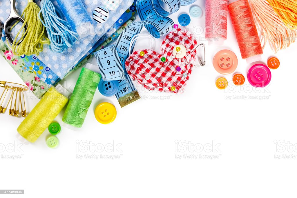 Materials and accessories for sewing stock photo