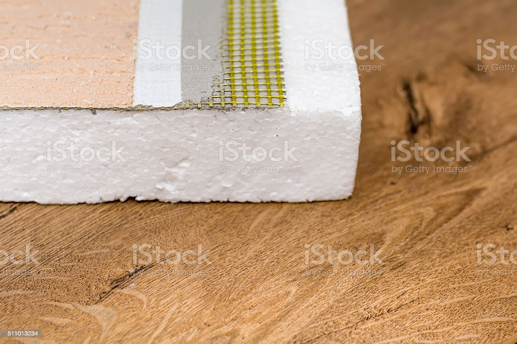 Materials background - thermal insulating hemp fiber panels with coating stock photo