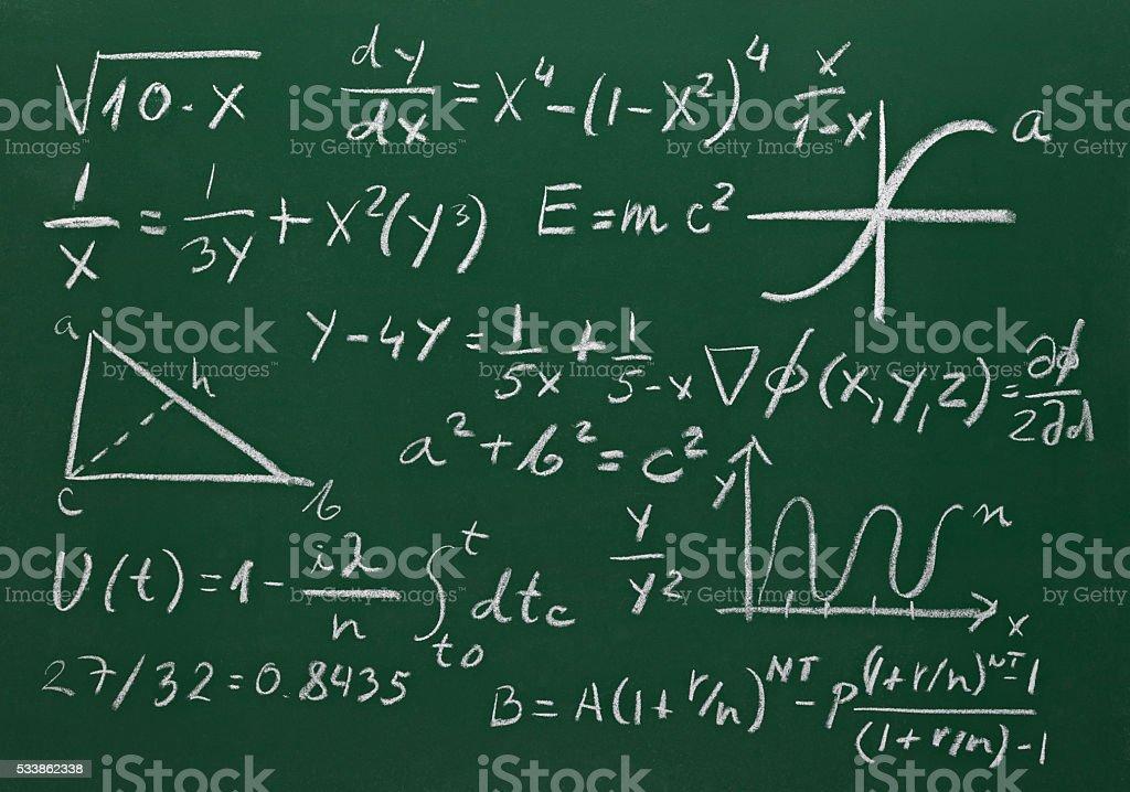 math formulas on school blackboard education stock photo