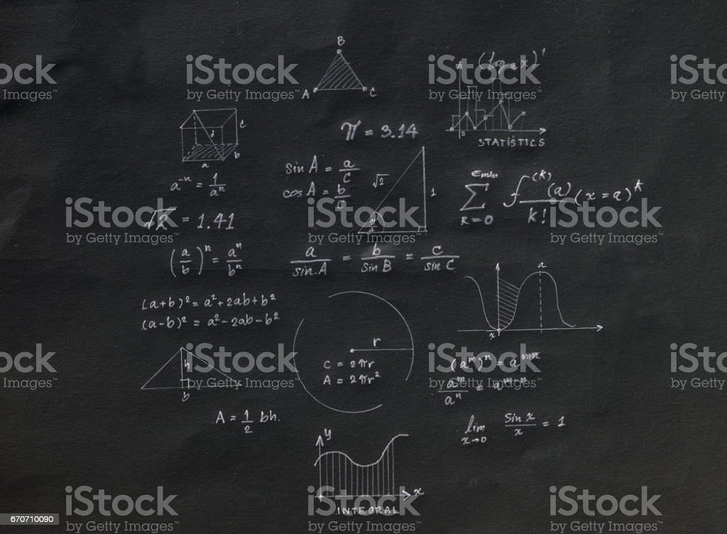 Math geometry formulas stock photo