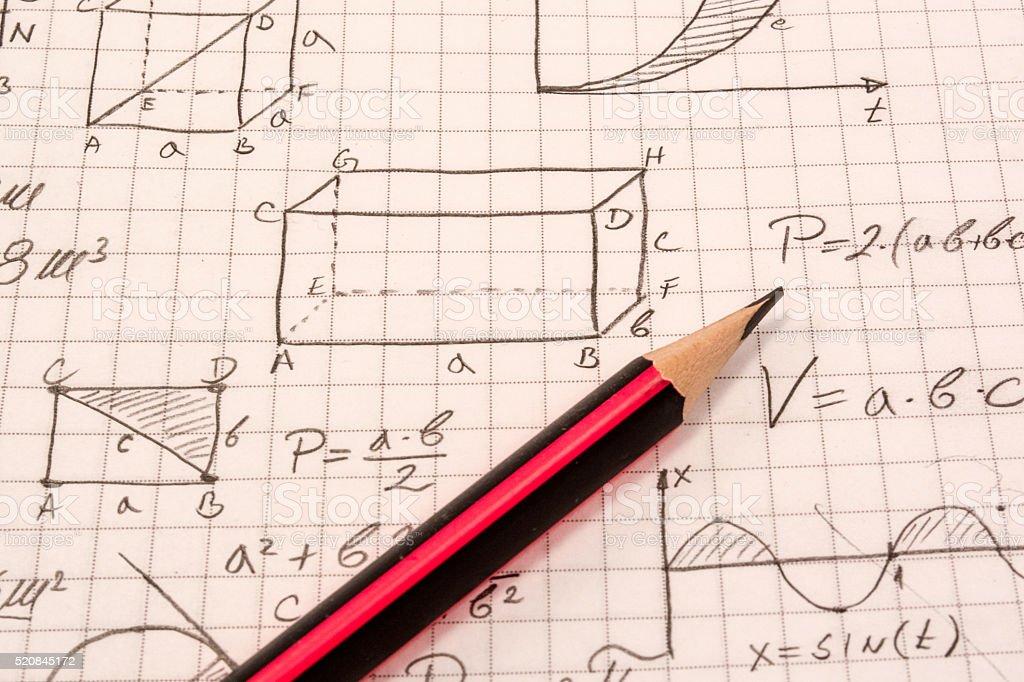 Math notebook stock photo