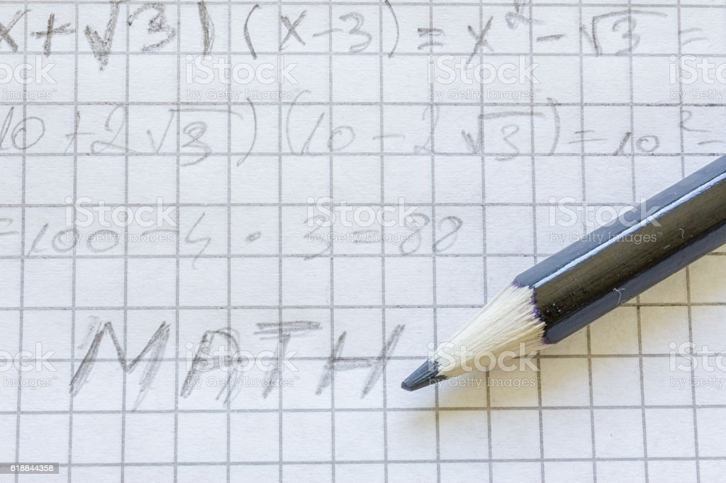 Math on paper stock photo