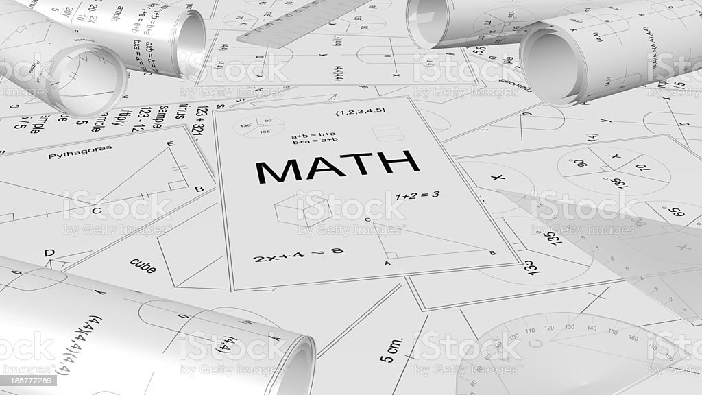 Math paper ,Mathematics project stock photo