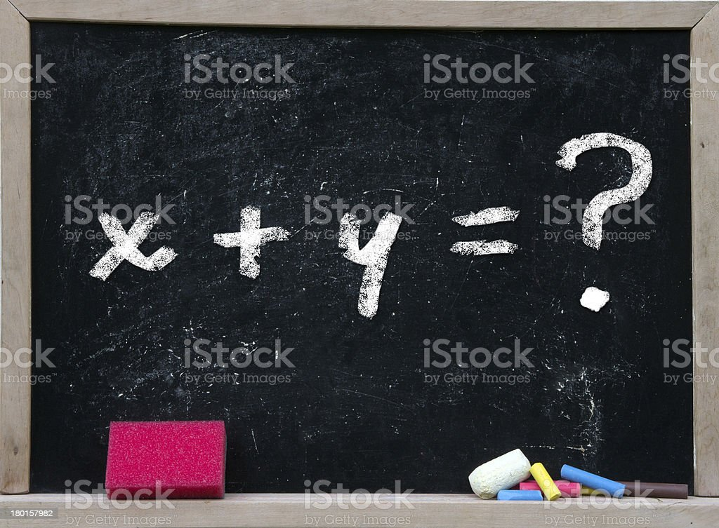 Math problem equation on a chalkboard with pink eraser royalty-free stock photo