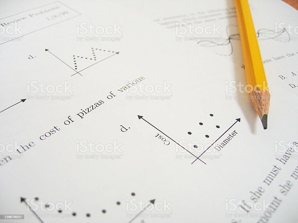 Math test Exam 2 stock photo