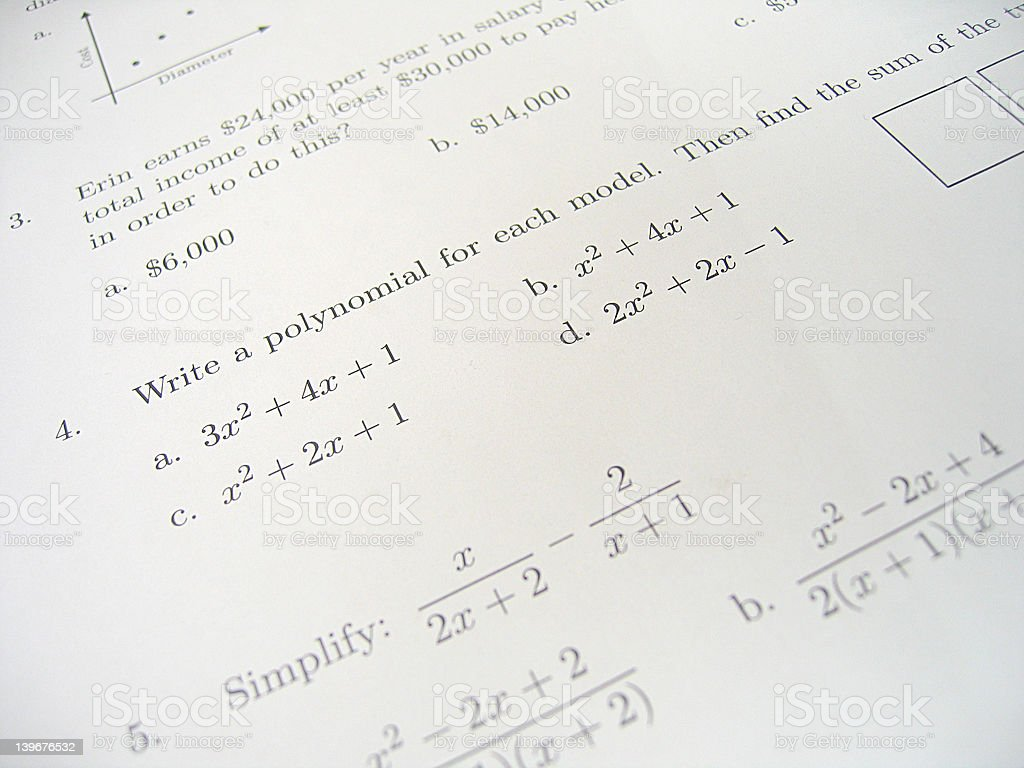 Math Test Exam 3 royalty-free stock photo
