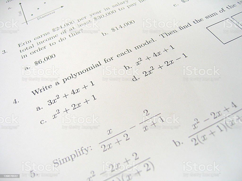 Math Test Exam 3 stock photo