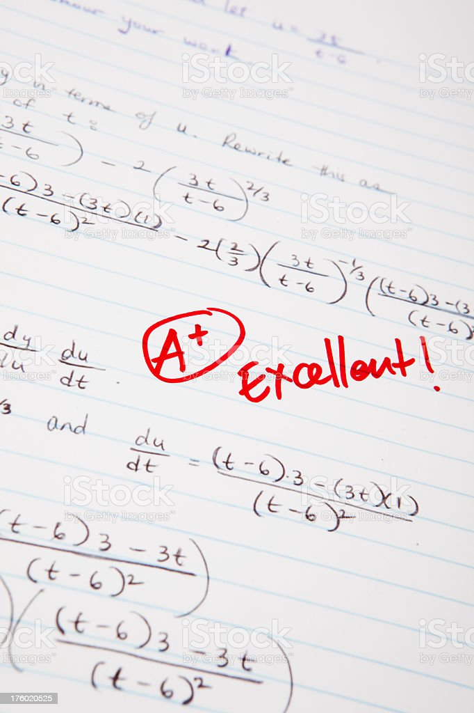 A math test with a great grade royalty-free stock photo