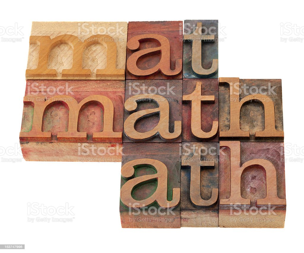 math word abstract in letterpress type stock photo