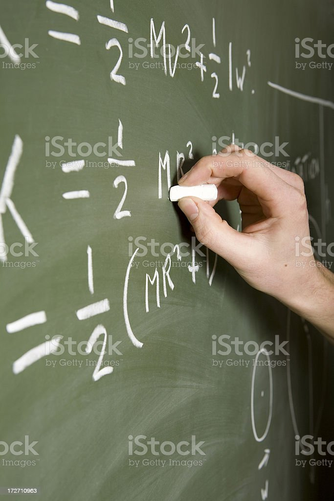 Mathematical assignment on a chalkboard stock photo