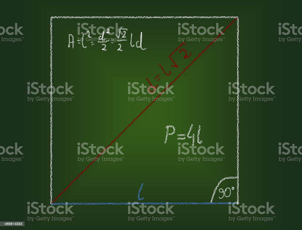 Mathematical education concept of chalkboard and drawing. stock photo