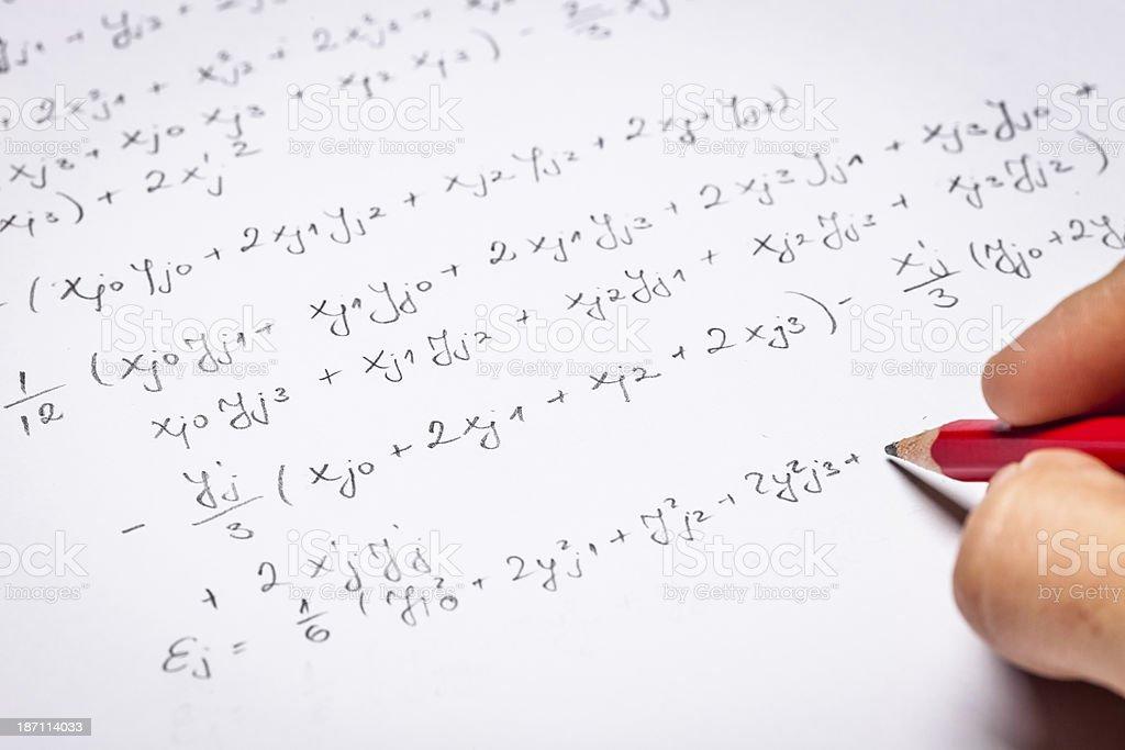 Mathematical equations stock photo