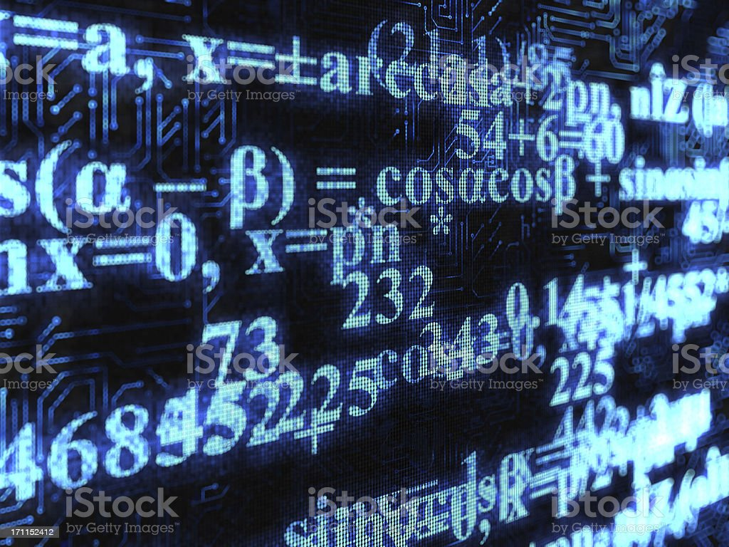 Mathematical formulas displayed on a screen royalty-free stock photo
