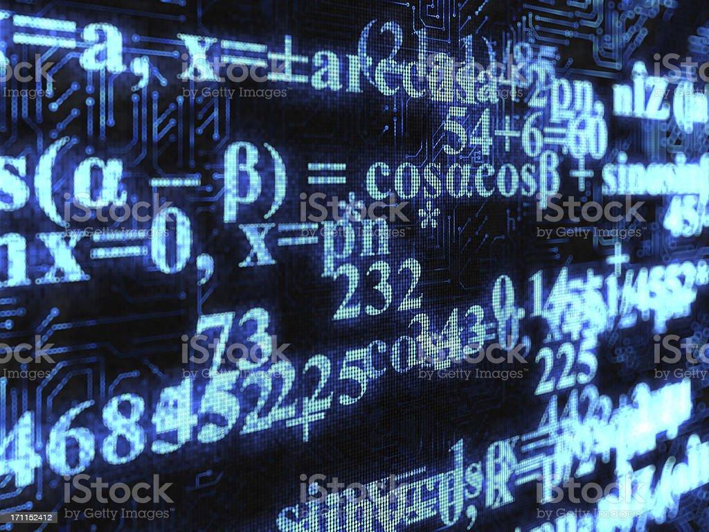 Mathematical formulas displayed on a screen stock photo