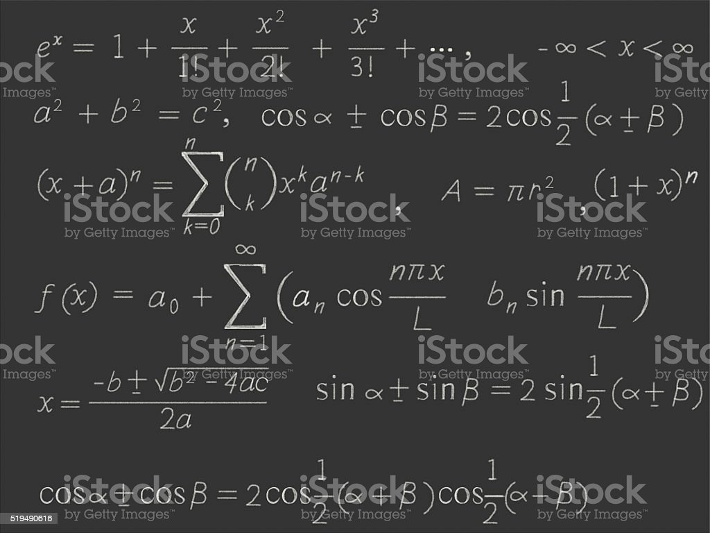 Mathematical formulas stock photo