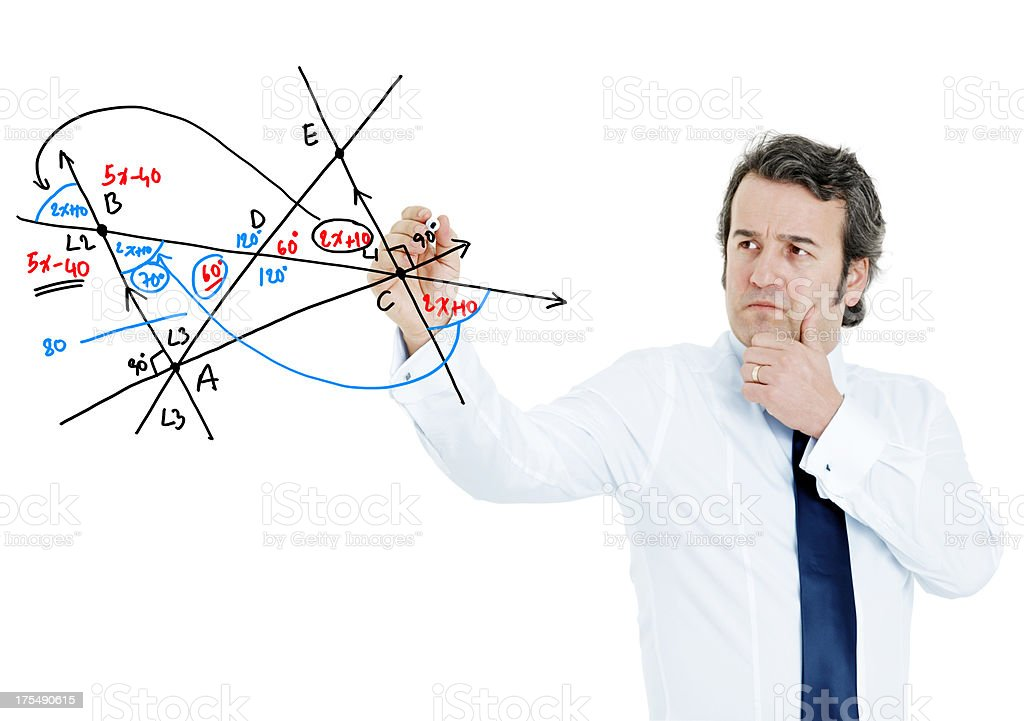 Mathematician figures out a math problem royalty-free stock photo