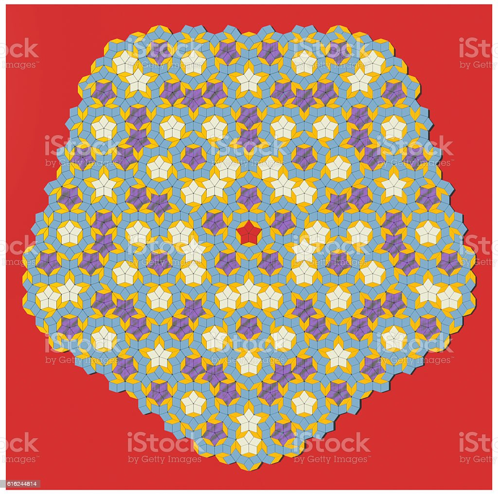 Penrose aperiodic tiling 2500 coloured 3D tiles decorative pattern stock photo