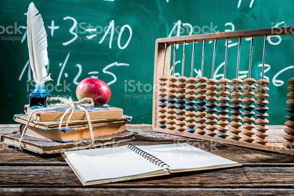 Mathematics classes in primary school stock photo