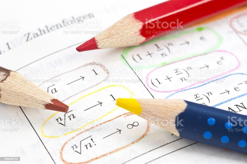 mathematics formula with colored pens stock photo
