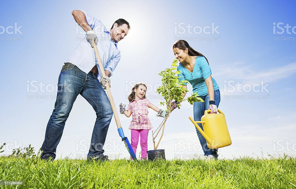 Mather, father and their daughter gardening on beautiful day. stock photo