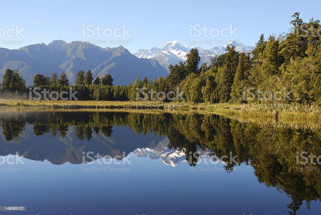 Matheson lake reflection, New Zealand South Island royalty-free stock photo
