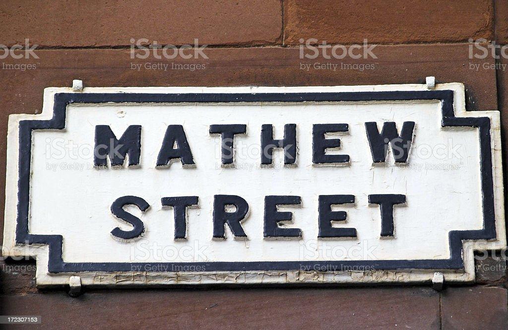 Mathew Street (Matthew) sign Liverpool royalty-free stock photo