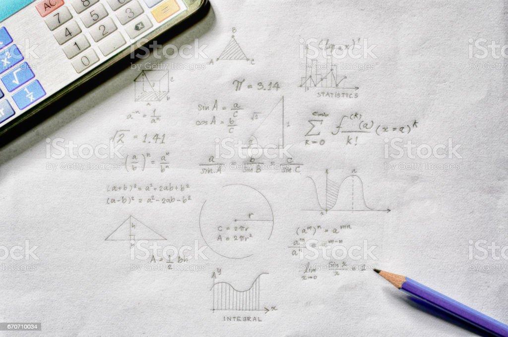 Maths concept - handheld calculator stock photo