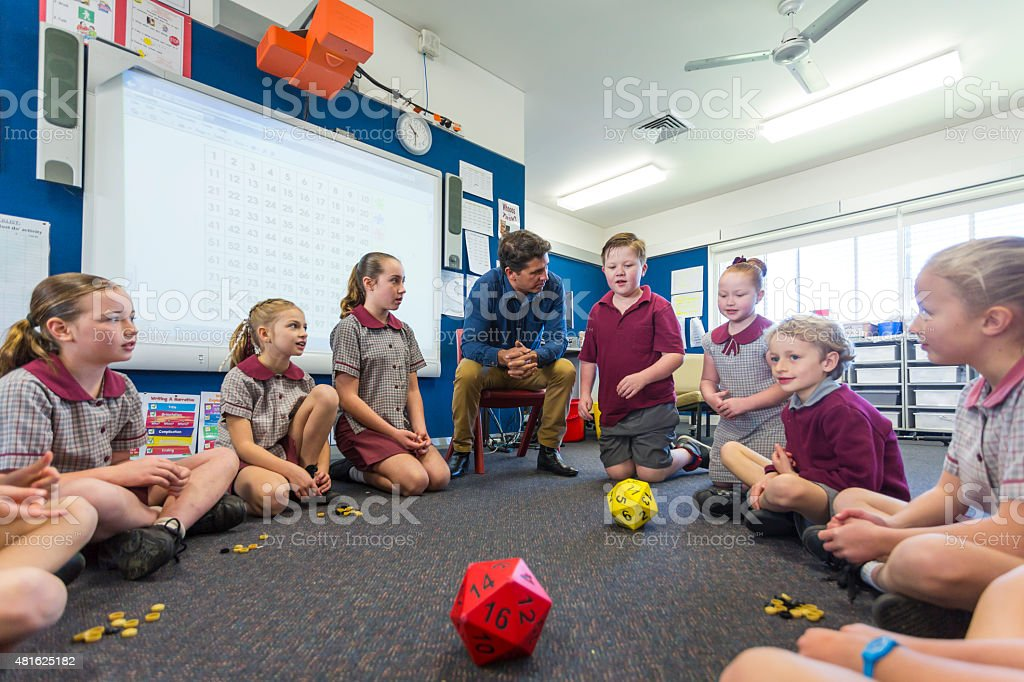 Maths Game Being Played By Children in the Classroom stock photo