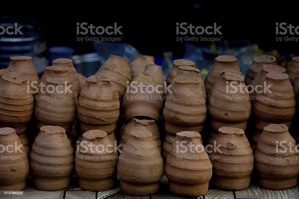 Mathura, Handmade teacups stock photo