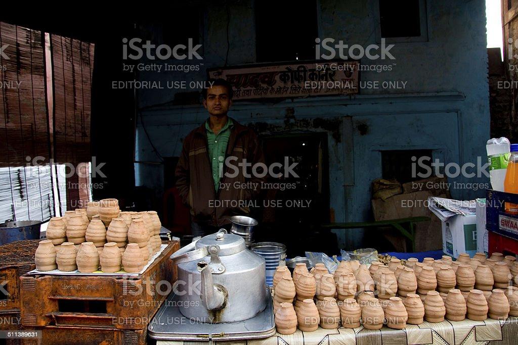 Mathura, tea seller stock photo
