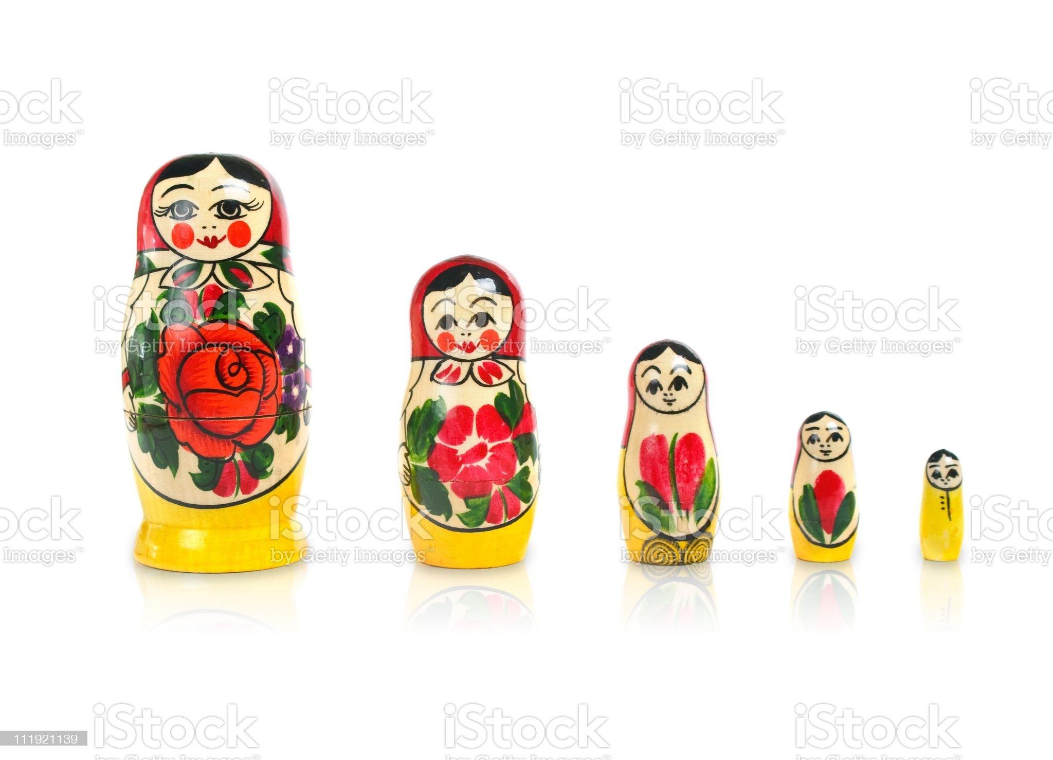 matrioshka doll set in row royalty-free stock photo