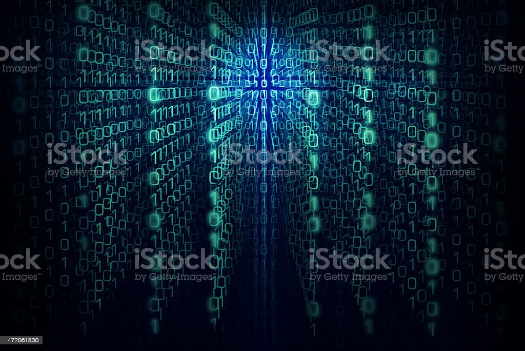 Matrix background with the green and  blue symbols stock photo