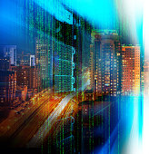 matrix code Blade server double exposure night city confusion