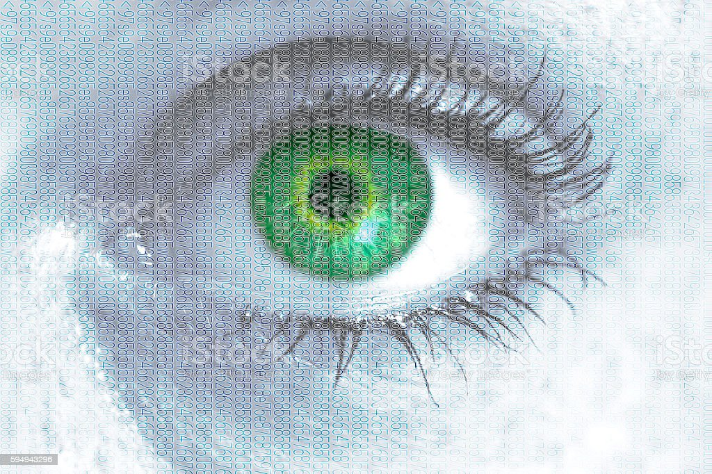 Matrix eye looks at viewer concept stock photo