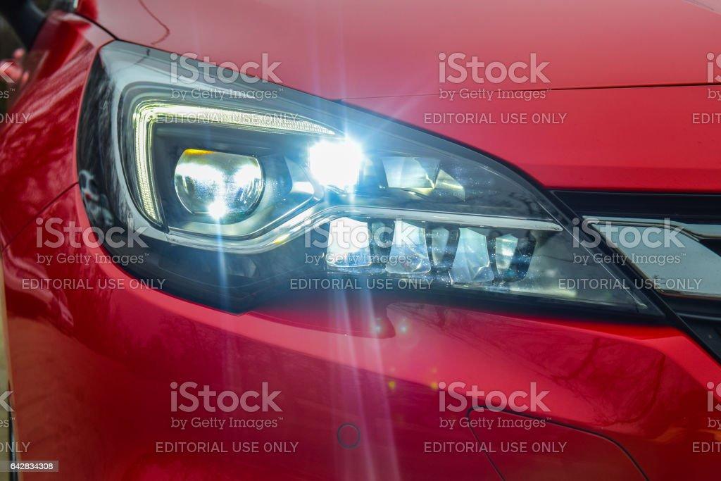 Matrix LED headlights of a modern car stock photo