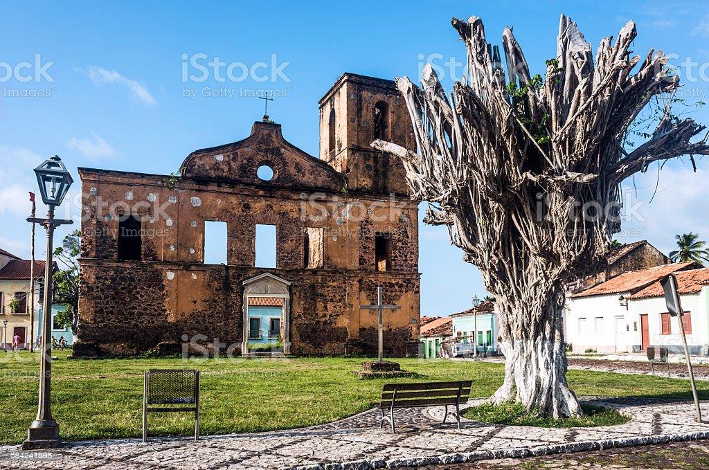 Matriz Church ruins in the historic city of Alcantara, Brazil stock photo