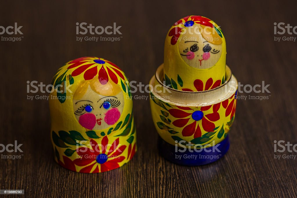 Matryoshka, a Russian wooden doll stock photo