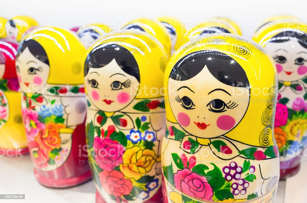 Matryoshka also known as Russian nesting dolls stock photo