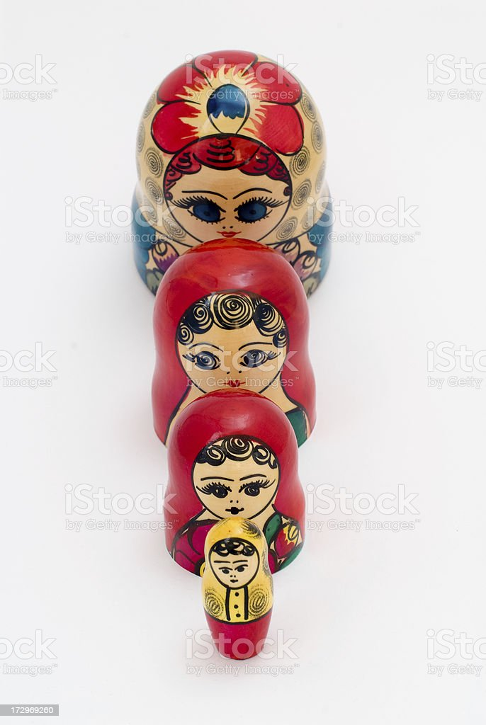 Matryoshka back-to-back stock photo