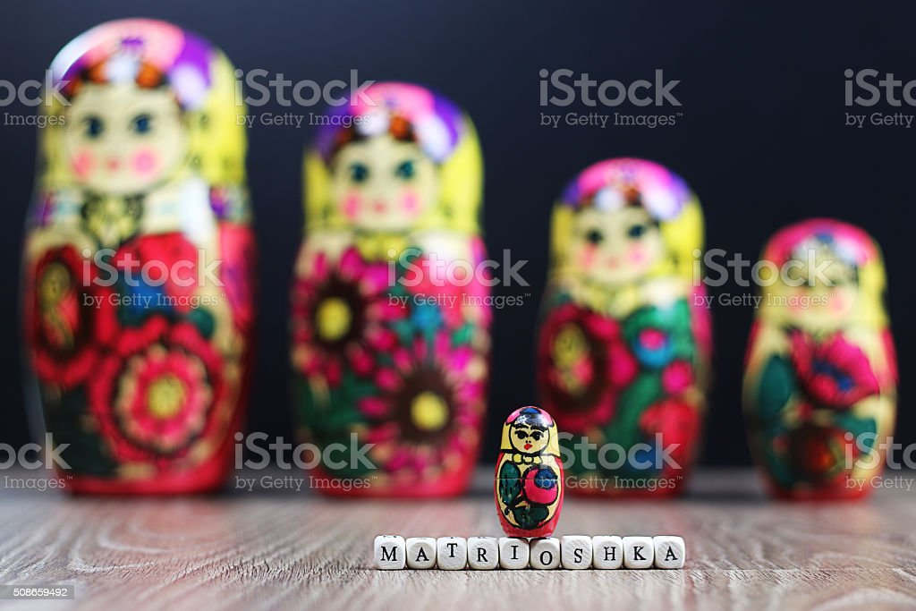 matryoshka different patterns stock photo