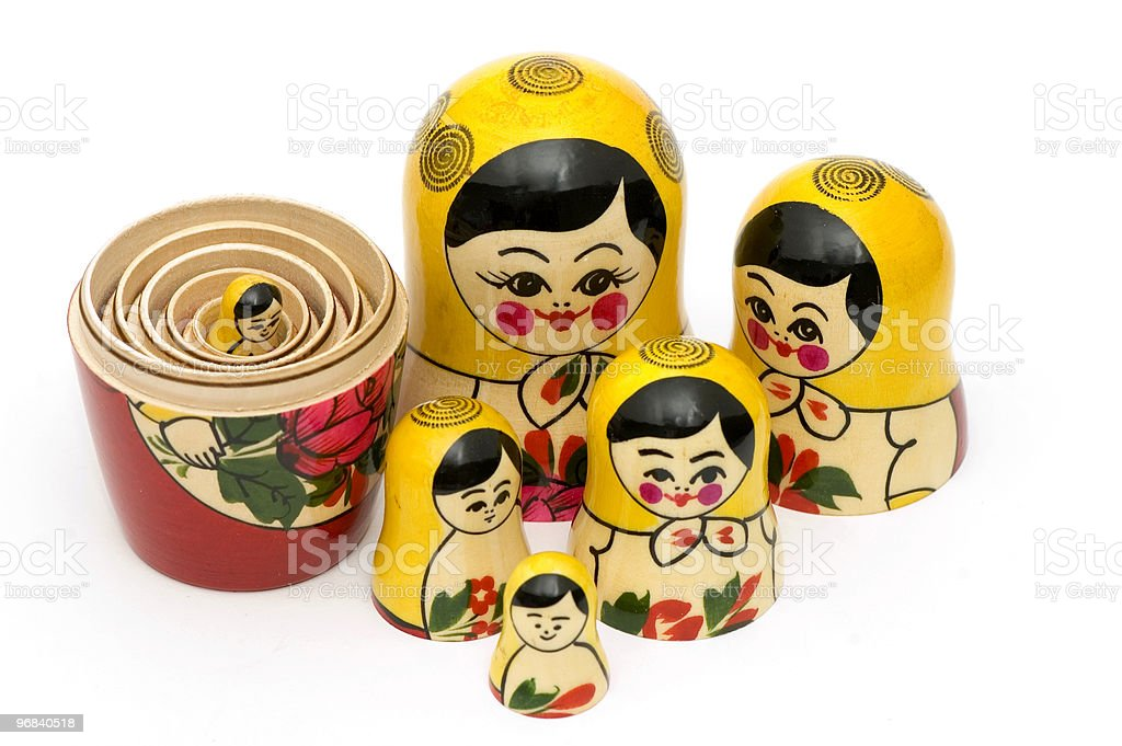Matryoshka Disassembled. stock photo