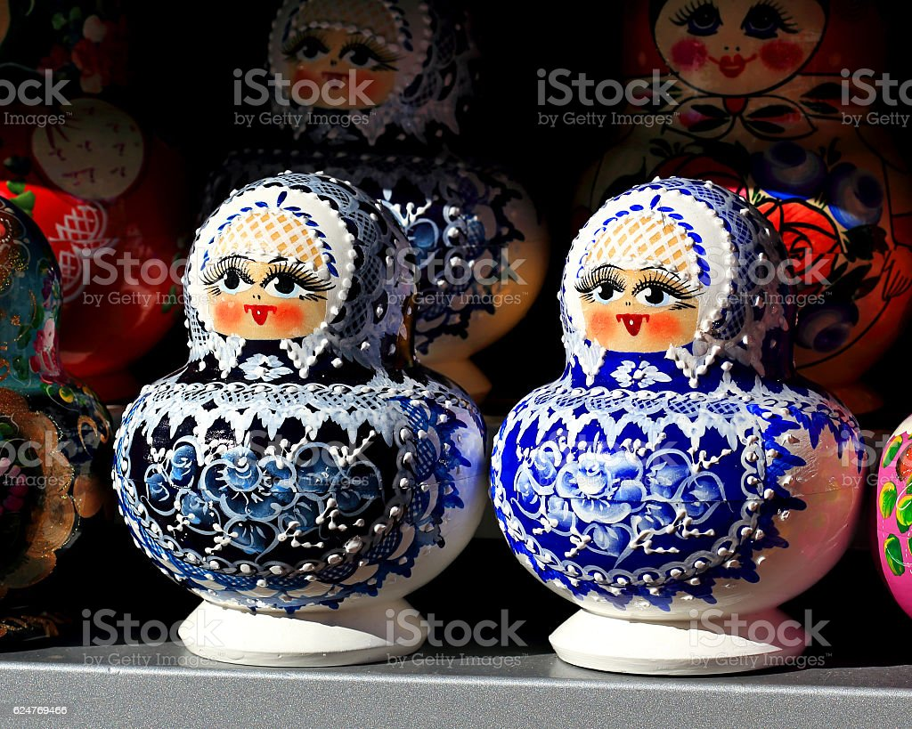 Matryoshka on the counter for sale stock photo
