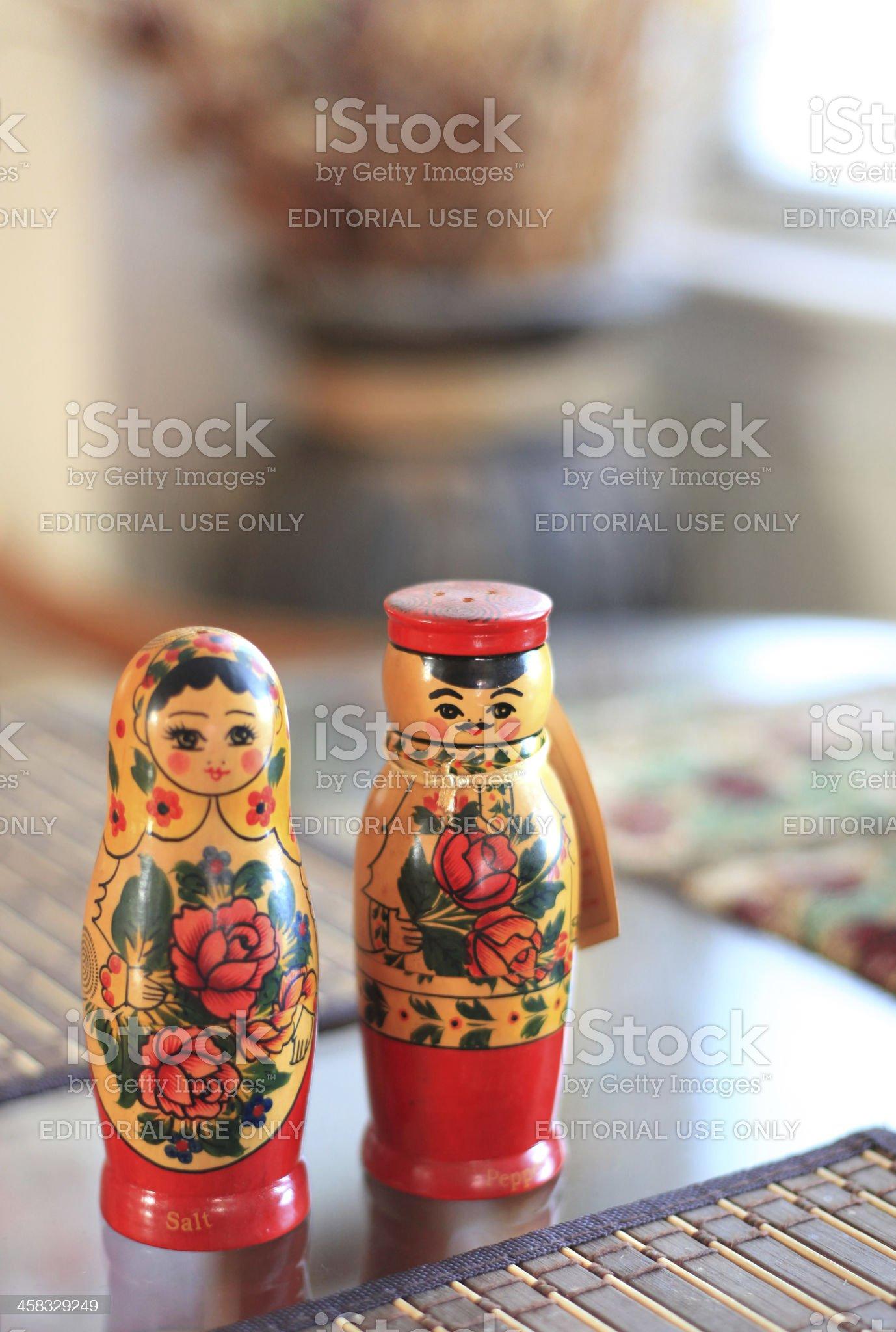 Matryoshka salt and pepper doll royalty-free stock photo