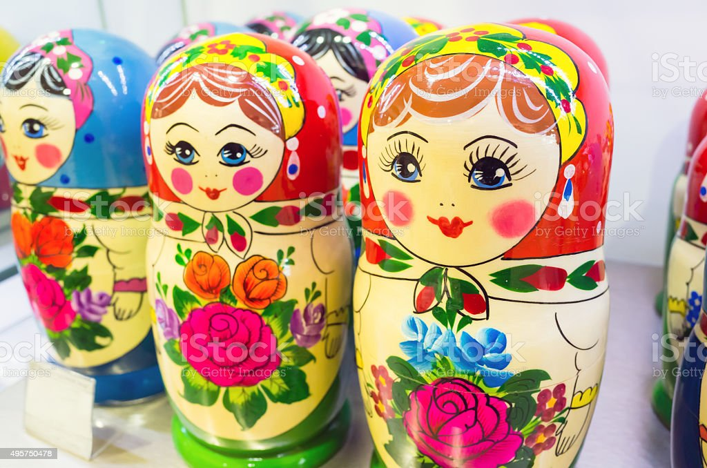 Matryoshka. The most popular Russian souvenir stock photo