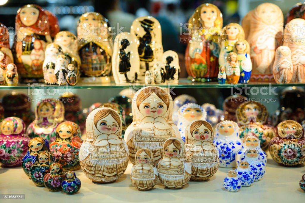 Matryoshkas in russian souvenir shop in Moscow stock photo